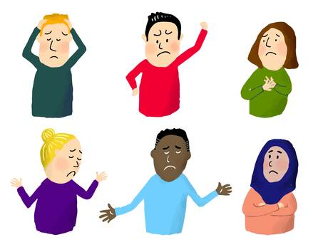 6 sets of troubled faces for foreigners