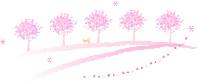 Cherry blossoms and cats illustration