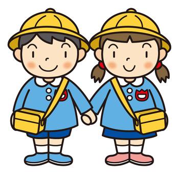Kindergarten child holding hands