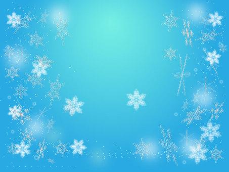 Snow crystal in blue sky