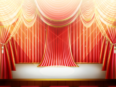 White stage with red curtain lighting Background frame