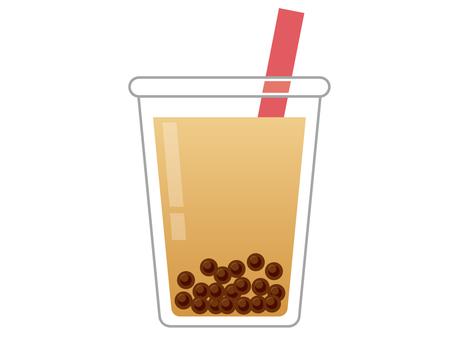 外賣容器中的木薯奶茶