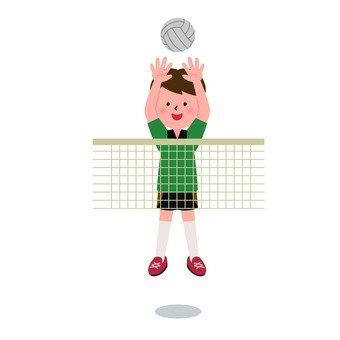 A boy playing a volleyball