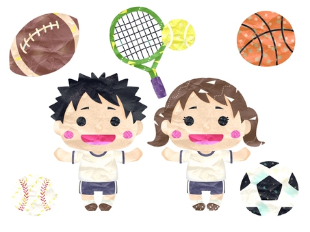 Children in gym clothes and ball game set