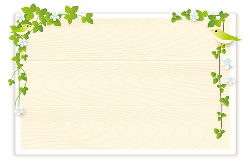 Grass flowers and small birds bulletin board (white)
