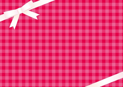 Pink gingham (white ribbon diagonal)