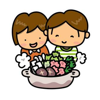 Boys and girls surrounding a pot