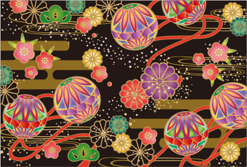 Japanese pattern card black