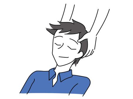 Men receiving head massage