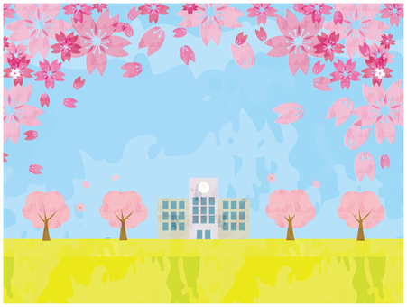 Watercolor style spring school background