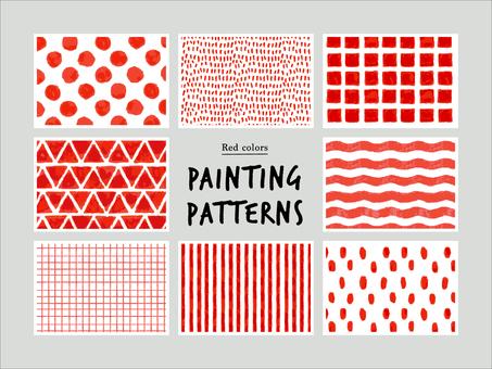 Red hand-drawn pattern
