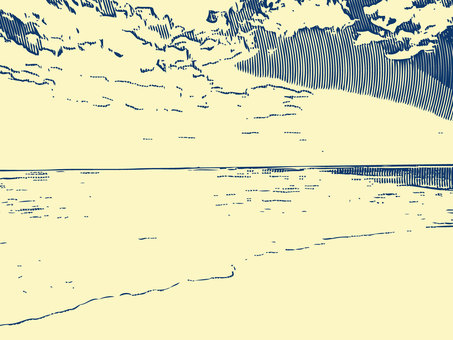 Pen-style sea background material