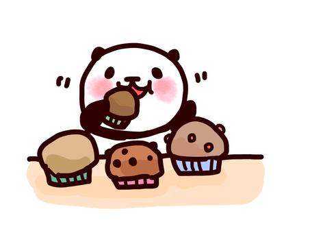 Panda eating muffins