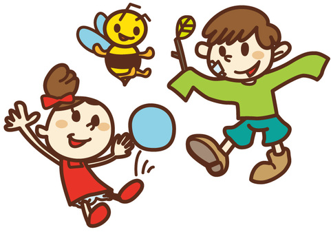 Children playing with ball and bee