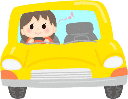 A woman driving a car