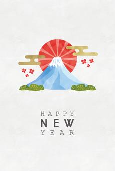 การ์ดปีใหม่ 017 สีน้ำฟูจิสไตล์ญี่ปุ่น