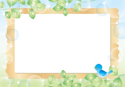 Leaf frame sky and bird (BBS)