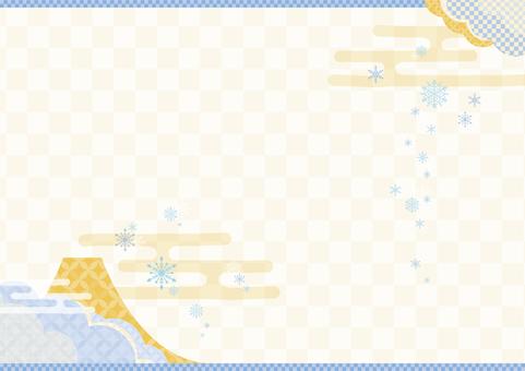 雪の結晶和風背景2