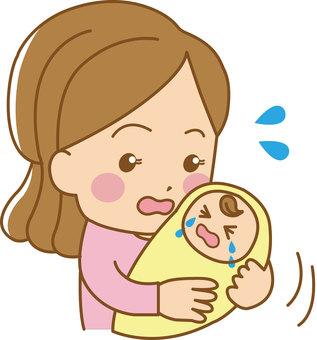 Mom and crying baby