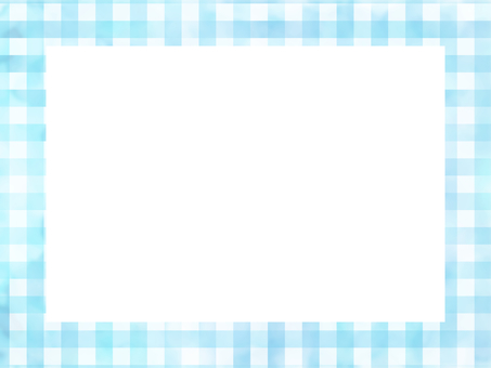 Watercolor check pattern frame light blue