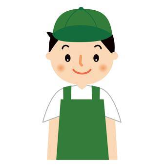 Male saleswoman in apron upper body illustration