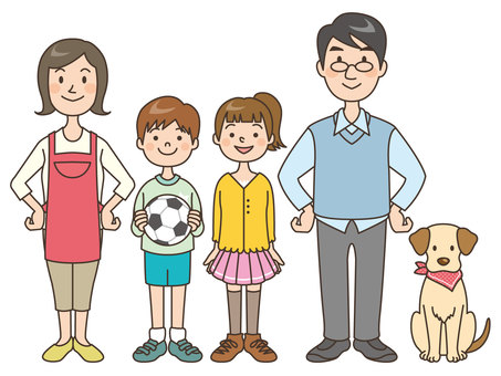 人物/家族/父母娘息子と1匹