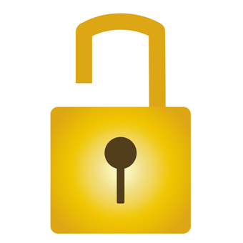 Unlocked golden padlock icon material
