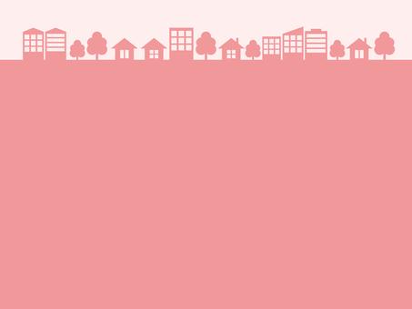 도시 거리 실루엣 핑크 프레임