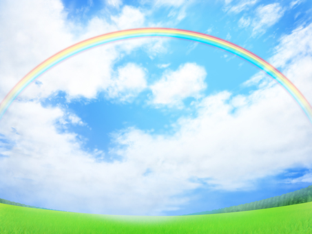 Blue sky on the lawn Rainbow background · wallpaper · frame