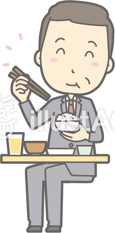 中年男スーツ-おいしい和食-全身のイラスト