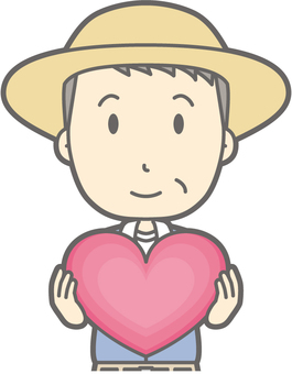 Middle-aged Farmer Man - Heart - Bust