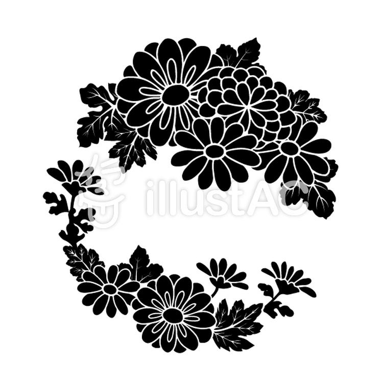 花丸紋様(単色/菊)のイラスト