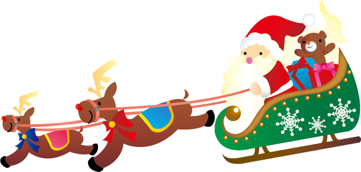 Santa and reindeer on a sled