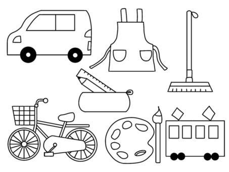 School supplies & vehicles (monochrome)