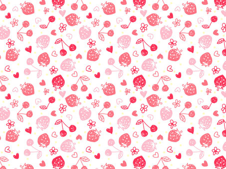 Graffiti style strawberries and cherry patterns