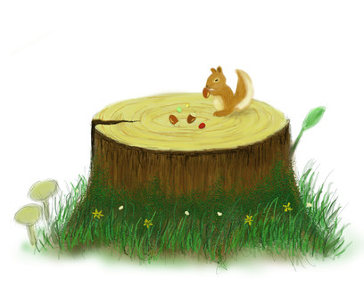Stump and squirrel Landscape in autumn forest