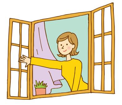 A woman leaving a window