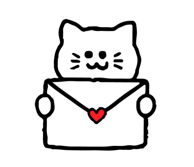 Cat with a love letter (animal simple)
