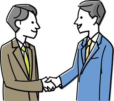 Men shaking hands with colleagues