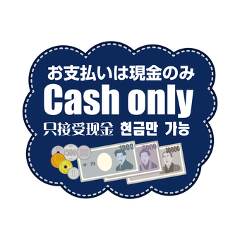 Payment is only cash (written in four languages)