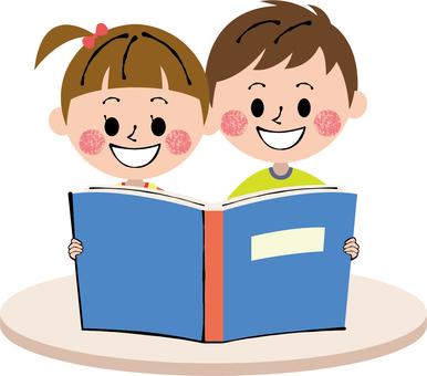 Picture book blue blue girls boy desk white