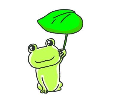 Illustration of a frog holding a leaf umbrella