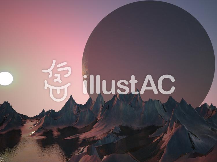 幻想的なファンタジーな景観(双子惑星)のイラスト