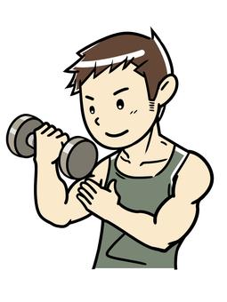 集中してダンベルトレーニングをする男性