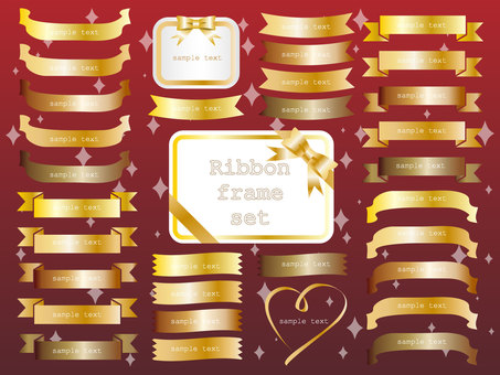 Illustration set of golden ribbon