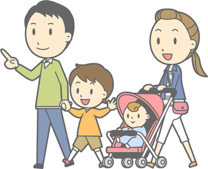 4 people family - walking - whole body