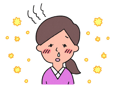 A woman with hay fever (feverish)