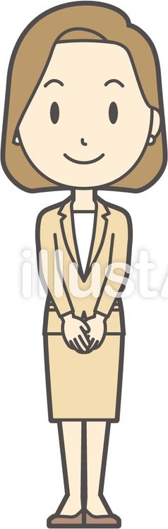 スーツ女性ボブ-202-全身のイラスト