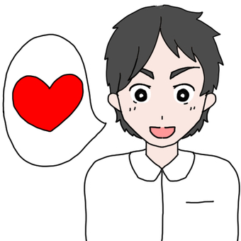 White clothes male with speech (heart)