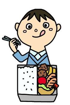 一個吃午飯的男孩